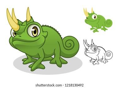 Jackson's chameleon cartoon character mascot design, including flat and line art design, isolated on white background, vector clip art illustration.