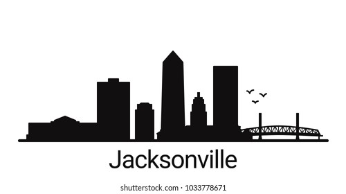 Jacksonville city outline skyline. All Jacksonville buildings - customizable objects, so you can simple change skyline composition. Minimal design.