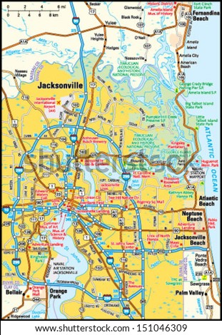 Jacksonville Florida Area Map Stock Vector Royalty Free 151046309