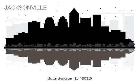 Jacksonville Florida City skyline black and white silhouette with Reflections. Vector illustration. Simple flat concept for tourism banner, placard or web site. Jacksonville Cityscape with landmarks
