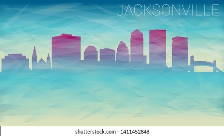 Jacksonville Florida City USA. Broken Glass Abstract Geometric Dynamic Textured. Banner Background. Colorful Shape Composition.