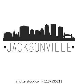 Jacksonville Florida Skyline Silhouette City Design Vector Famous Monuments Travel Landmark.