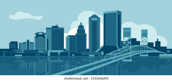 Jacksonville Florida USA urban skyline vector illustration