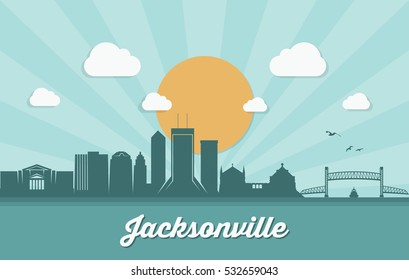 Jacksonville skyline, Florida - vector illustration