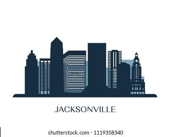 Jacksonville skyline, monochrome silhouette. Vector illustration.