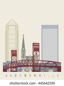 Jacksonville skyline poster in editable vector file