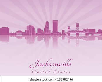 Jacksonville skyline in purple radiant orchid in editable vector file