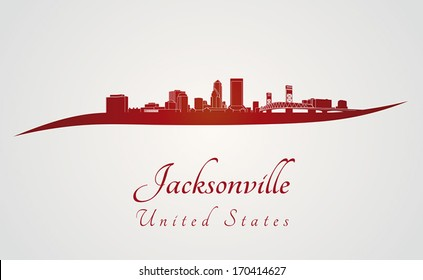 Jacksonville skyline in red and gray background in editable vector file