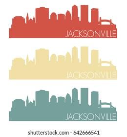 Jacksonville Skyline Silhouette City Stamp Vector Color Vintage Set