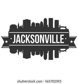 Jacksonville Skyline Stamp Silhouette City Design