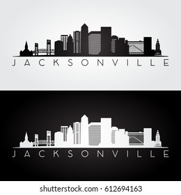 Jacksonville USA skyline and landmarks silhouette, black and white design, vector illustration.