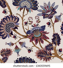 Jacobean seamless pattern. Flowers background, ethnic style. Stylized climbing flowers. Decorative ornament backdrop for fabric, textile, wrapping paper, card, invitation, wallpaper, web design