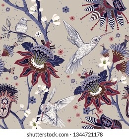 Jacobean seamless pattern. Flowers background, decorative style. Stylized climbing flowers. Decorative ornament backdrop for fabric, textile, wrapping paper, card, invitation, wallpaper, web design