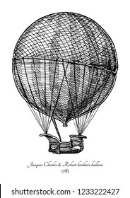 Jacques Charles and Robert brothers balloon. Vector hand drawn in vintage engraved style. Isolated on white background.  The first gas balloon