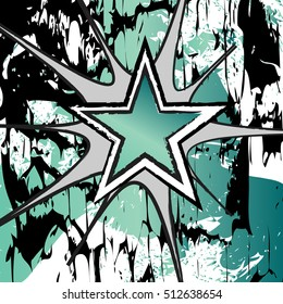 Jade colored rock n roll grunge star vector background