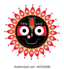 Jagannath, Indian God of the Universe, Lord Jagannatha, Jagannath Puri, Odisha -stock vector