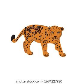 Jaguar animal. The character. Wild cat. Vector illustration.