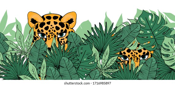 jaguar in the bushes, Vector illustration of leopards hiding in the tropical forest, jungle wild life, pattern hunting predators