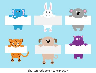 Jaguar cat, elephant, rabbit, koala, dog, hippo hanging on paper board template set. Cute cartoon funny character. Kawaii animal. Baby card. Flat design. Blue background Isolated Vector illustration