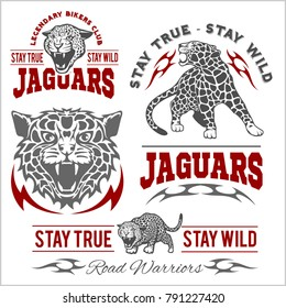 Jaguar custom motors club t-shirt vector logo on light background. Premium quality bikers band logotype t-shirt emblem illustration. Wild animals - vector set.