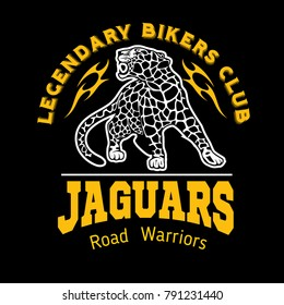 Jaguar custom motors club t-shirt vector logo on dark background. Premium quality bikers band logotype t-shirt emblem illustration. Wild animals - vector set.