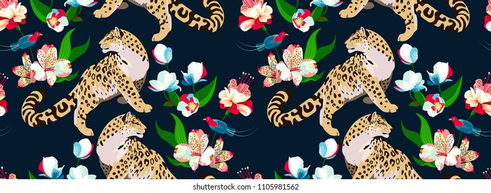 Jaguar with flowers on navy background. Vector pattern