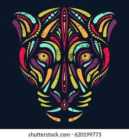 Jaguar head in psychedelic colors