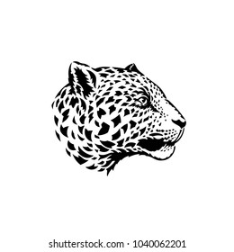 Jaguar head. Silhouette vector illustration isolated on white background