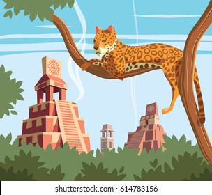 Jaguar on tree and ancient pyramids in background