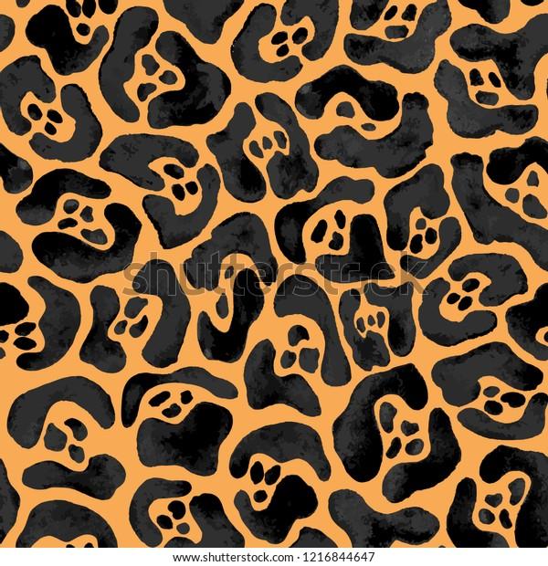 Jaguar pattern. Seamless vector illustration. Wildlife background. Animal fur design in black and orange colors.