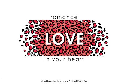 Jaguar skin romance love in you heart background. Tracery spots with red puma camouflage outlines in white leopard vector color scheme.