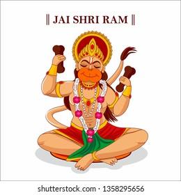 Jai Shri Ram. haapy hanuman jayanti. lord hanuman vector illustration