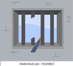 Jail break. Window in prison. Prison cell. Organize an escape. Broken iron bars.