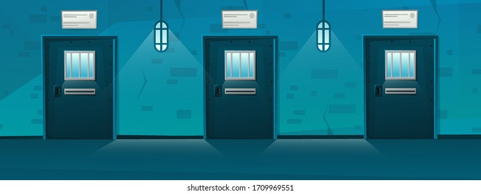 Jail corridor with Door in cartoon style.Hallway prison cell interior with lattice. Cartoon vector