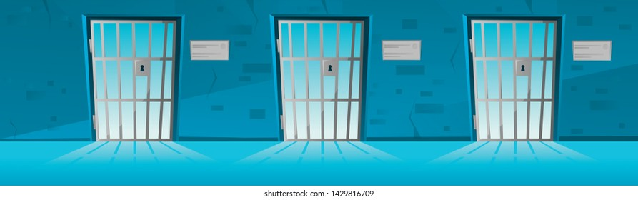 Jail corridor with Grid door in cartoon style.Hallway prison cell interior with lattice. Cartoon vector