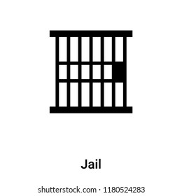 Jail icon vector isolated on white background, logo concept of Jail sign on transparent background, filled black symbol