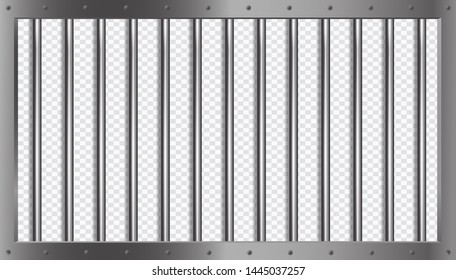 Jail lattice or bars with metal frame in 3d style on isolated background. Prison transparent. Vector illustration.