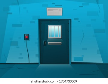 Jail locked door in cartoon style. Red button on the wall. Prison cell interior with lattice. Cartoon vector