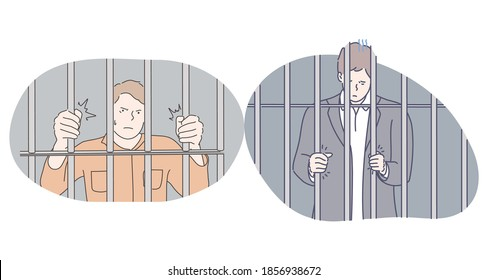 Jail, prison, arrest concept. Young angry unhappy depressed men cartoon character standing in prison cell and trying to get out and feel freedom. Prisoner, imprisonment and punishment illustration