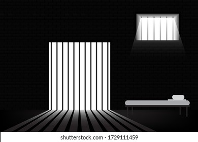 Jail with prison bar and Prisoner's bed vector illustration eps.10
