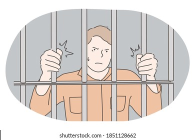 Jail, prison, cell, captivity, arrest, punishment, cage concept. Young angry unhappy man cartoon character standing in prison cell and trying to get out and feel freedom. Prisoner, imprisonment