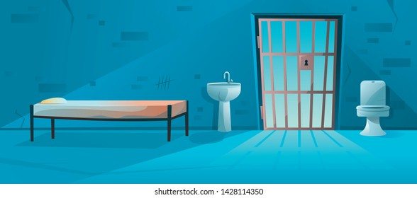 Jail room. Prison cell interior with lattice, grid door,  bed, toilet bowl, washbasin and dirty walls. Cartoon vector