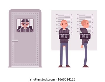 Jailed thief and a criminal mugshot. Imprisoned masked bandit, arrested suspect man photo, measurement for identification in police station office. Vector flat style cartoon illustration
