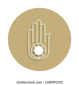 Jainism Ahimsa Hand sign icon in badge style. One of religion symbol collection icon can be used for UI, UX on white background