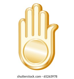 Jainism Symbol. Golden Ahimsa icon of the Jain faith isolated on a white background. EPS8 compatible.