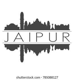 Jaipur India Asia Skyline Vector Art Mirror Silhouette Emblematic Buildings