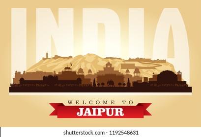 Jaipur India city skyline vector silhouette illustration