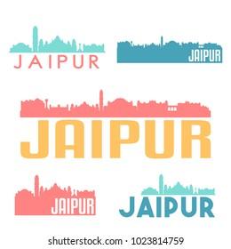Jaipur India Flat Icon Skyline Vector Silhouette Design Set
