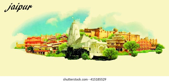JAIPUR (India) vector panoramic water color illustration