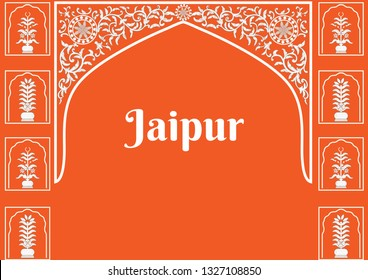 Jaipur old city's architectural art and entrance gate design. Wall art design in typical Rajasthani and Jaipur style. The wall art design of the old Jaipur gate of The walled city.